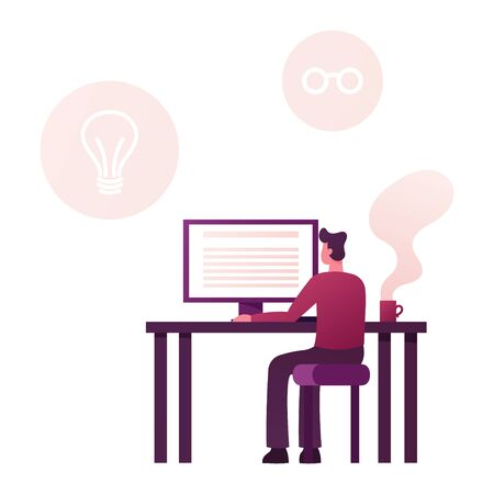 Male Character Sitting at Desk Look on Desktop with Coffee Cup Stand nearby. Man Author Writing Biography or Portfolio for Job Employment. Writer Work on New Memoirs Book. Cartoon Vector Illustration