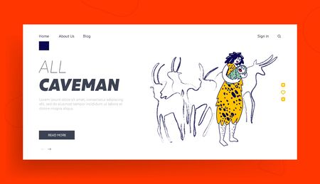 Prehistory Period of Human Landing Page Template. Cave Woman Character Wearing Skin Rocking Little Newborn Baby on Hands front of Ancient Coal Paintings of Hoofed Animals. Linear Vector Illustration 向量圖像