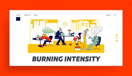 Professional Burnout Syndrome Landing Page Template. Exhausted Business Characters at Work Sitting at Table with Head Down and Low Battery Above, Overload, Tiredness. Linear People Vector Illustration