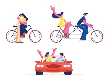 Set Young Loving Couple Ride Tandem Bicycle and Car. Summer Time Vacation Sparetime, Leisure, Romantic Voyage. Love Relations. Male Female Characters Cycling Bike. Cartoon People Vector Illustration