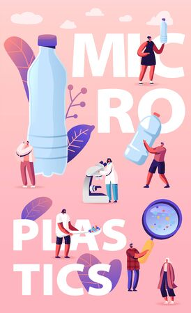 Microplastic in Water and Food Concept. Global Ocean Pollution. Problem. Tiny People Characters with Huge Microscope and Magnifying Glass, Ecological Poster Banner Flyer. Cartoon Vector Illustration Vectores