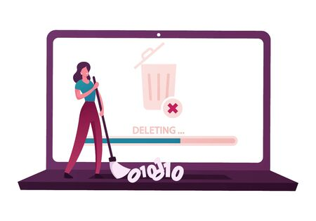 Cleaning Computer Space, Deletion of Secret Information and Docs. Tiny Female Character Sweeping Binary Code on Keyboard of Huge Laptop with Litter Bin on Desktop Screen. Cartoon Vector Illustration