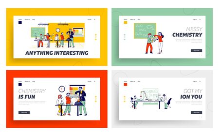 Schoolchildren Characters on Chemistry Lesson in Classroom Landing Page Template Set. Little Researchers Watch Teacher Conduct Scientific Experiment in Chemistry Lab. Linear People Vector Illustration Ilustración de vector