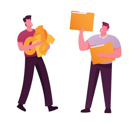 Businessmen Characters with Binary Code and Paper Folders in Hand Prepare for Deleting Documents and Information. Office People Destroying Private Info Hiding Crime. Cartoon People Vector Illustration Ilustración de vector