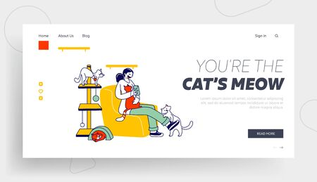 Modern Cat Cafe Landing Page Template. Woman Playing with Cats and Making Pictures on Smartphone. Female Character Hold Kitten Sitting on Comfortable Armchair, Hospitality. Linear Vector Illustration