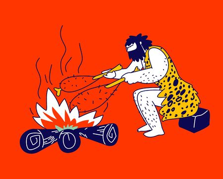 Caveman Character Frying Meat on Bonfire Sitting in Cave. Human Evolution, Prehistory Civilization Period. Member of Tribe Family, Neanderthal Homo Sapiens Lifestyle. Linear Vector Illustration