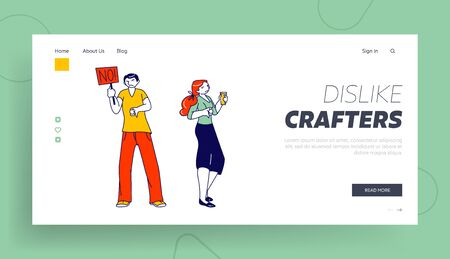 Unsatisfied Customers or Internet Users Landing Page Template. Characters with Sad Face Show Dislike Gesture. Unhappy People with No Banner and Thumb Down Dislike Something. Linear Vector Illustration