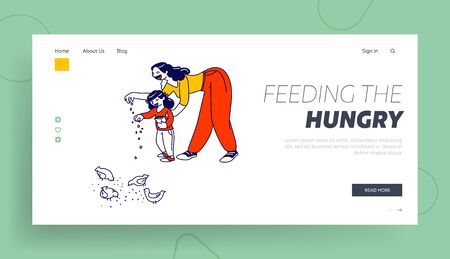 Mother and Little Daughter Feed Birds on Street Landing Page Template. Woman and Toddler Girl Characters Walking in Summer Park on Weekend. Happy Family Spare Time. Linear People Vector Illustration