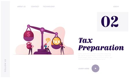 Business Taxation Landing Page Template. Businesspeople Characters Put Heavy Tax and Money Weight on Huge Scales. Bank Loan. Taxpayers Payment, Financial Bankruptcy. Cartoon People Vector Illustration