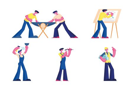 Set Call Master Repair Service, Architect and Builder Characters Job. Professional Workers with Tools and Instruments at Home, Saw Wood. Handyman Husband for Hour. Cartoon People Vector Illustration