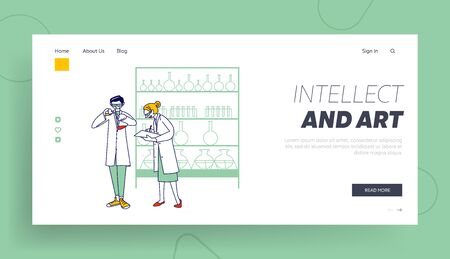 Researchers in Chemical Lab Landing Page Template. Chemist Characters in Conduct Experiment in Science Laboratory. Man Pouring Liquid to Glass Flask, Woman Write. Linear People .Vector Illustration