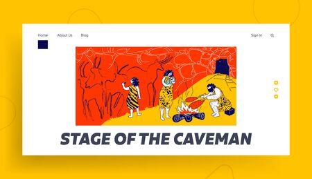 Primitive People Caveman Family Living in Cave with Bonfire Landing Page Template. Human Characters of Tribe Members. Child Paint, Mother Hold Baby, Father Frying Meat. Linear Vector Illustration