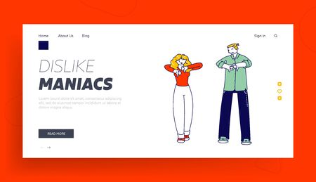 Rejection and Unhappy Customer Landing Page Template. Characters with Dissatisfied Face Show Negative Sign Dislike with Thumbs Down. Unsubscribe Internet Content. Linear People Vector Illustration