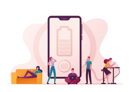 Battery Low Level Wireless Charging Concept. Characters Charge Devices, Mobile Phones and Gadgets. Young People Use Smartphones and Tablets Stand and Sit Near Big Battery. Cartoon Vector Illustration