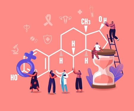 Tiny Female Characters Patients and Doctor front of Huge Estrogen Formula. Girl Sitting on Hourglass, Holding Venus Sign. Hormones Health, Diagnostics and Treatment. Cartoon People Vector Illustration