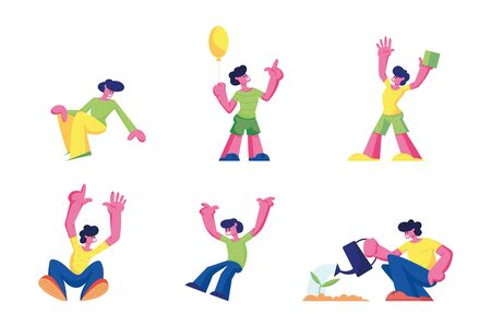 Happy Kids Jumping and Rejoice Isolated on White Background. Little Children on Summer Time Vacation or Party. Cute Funny Boys Hold Balloon, Playing Cubes, Watering Plant. Cartoon Vector Illustration