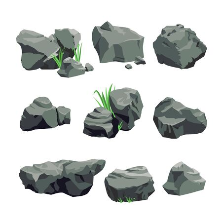 Set of Grey Stones Isolated on White Background. Single and Piled Rocks with Green Grass, Graphic Design Elements for Computer Game, Nature Pebble Objects. Cartoon Vector Illustration, Icon, Clip Art