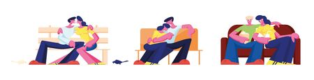 Couple Hug Sitting on Couch at Home, Bench in Park and Sofa in Cinema. Romantic Relations, Love and Dating Spare Time. Loving Characters Leisure, Man Embrace Woman. Cartoon People Vector Illustration