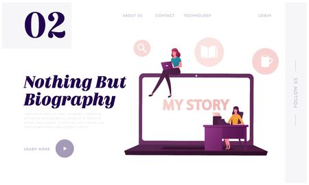 Famous Author Life Story Landing Page Template. Tiny Female Characters at Huge Laptop Writing Biography. Girl Typing on Computer, Woman Printing Book on Typewriter. Cartoon People Vector Illustration Illustration