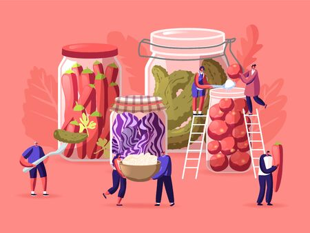 Tiny Male and Female Characters Cook and Eat Marinated Pickles, Variety Preserving Jars. Homemade Cucumbers, Chili Peppers, Tomatoes and Red Cabbage Fermented Food. Cartoon People Vector Illustration