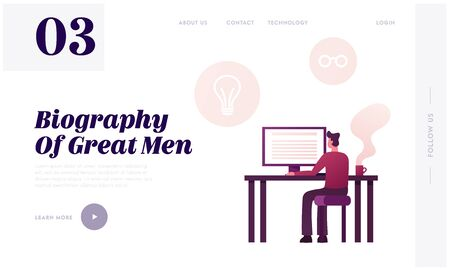 Writer Work on New Memoirs Book Landing Page Template. Male Character Sitting at Desk Look on Desktop. Man Author Writing Biography or Portfolio for Job Employment. Cartoon Vector Illustration