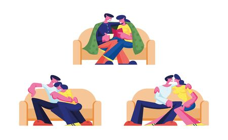 Set of Young Loving Couple Characters Spend Time at Home Sitting on Couch Chatting, Drinking Tea, Reading Book on Weekend. Love Flirting Sparetime, Family Relations. Cartoon People Vector Illustration 일러스트