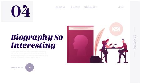 Female Radio Host Character Interviewing Famous Writer Landing Page Template. Announcement of New Biography Book with Human Profile on Cover, Inkwell, Feather Pen. Cartoon People Vector Illustration