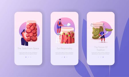 People Cooking Homemade Fermented Vegan Healthy Food Mobile App Page Onboard Screen Template. Tiny Characters Prepare Huge Red Chili Pepper, Tomatoes and Cucumbers Concept. Cartoon Vector Illustration