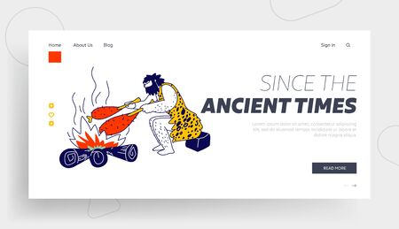 Human Evolution, Prehistory Civilization Period Landing Page Template. Caveman Character Frying Meat on Bonfire Sitting in Cave. Tribal Neanderthal Homo Sapiens Lifestyle. Linear Vector Illustration
