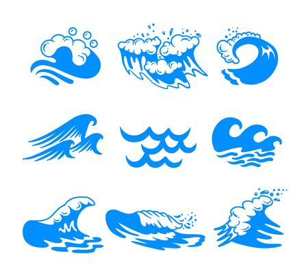 Set of Blue Water Sea or Ocean Waves and Splashing of Different Shapes Isolated on White Background. Minimalistic Icons, Labels or Signs for Advertising Promo Banner. Vector Illustration, Clip Art