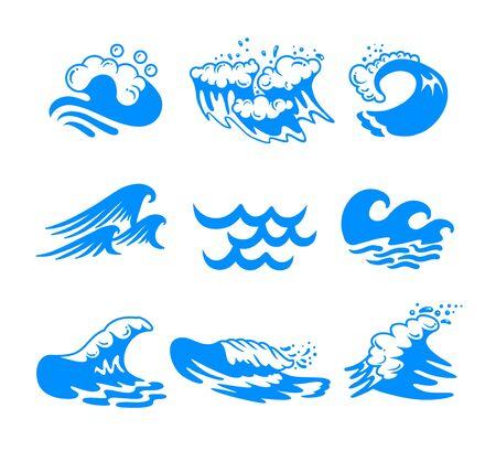 Conjunto de olas de mar u océano de agua azul y salpicaduras de diferentes formas aisladas sobre fondo blanco. Iconos minimalistas, etiquetas o letreros para publicidad promocional. Ilustración Vectorial, Clip Art