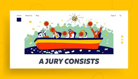 Judges Committee Work Landing Page Template. Competition Jury Characters Hold Tablets with Estimates Voting for Competitor on Talent Show Performance or Tv Program. Linear People Vector Illustration Vektoros illusztráció