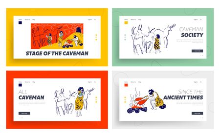 Primitive People Caveman Family Live in Cave Landing Page Template Set. Ancient Neanderthal Culture. Member of Tribe Characters Father, Mother and Children Lifestyle. Linear Vector Illustration