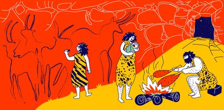 Primitive People Caveman Family Living in Cave with Bonfire. Human Characters of Tribe Members. Little Child Paint on Wall, Mother Holding Baby, Father Frying Meat on Fire. Linear Vector Illustration