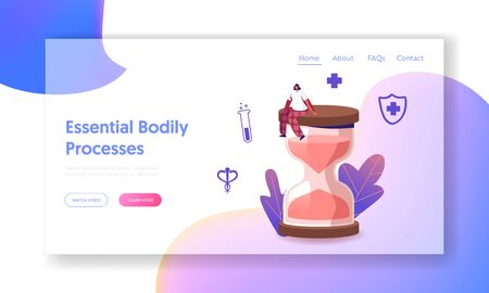 Estrogen and Estradiol Hormonal Medical Therapy Landing Page Template. Tiny Female Character Sitting on Huge Hourglass. Gynecology, Menopause and Woman Fertility Health. Cartoon Vector Illustration