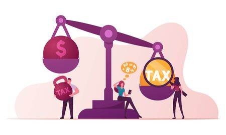 Business Taxation Concept. Businesspeople Characters Put Heavy Tax and Money Weight on Huge Scales. Bank Loan. Taxpayers Make Payment, Financial Bankruptcy, Poverty Cartoon People Vector Illustration Vettoriali