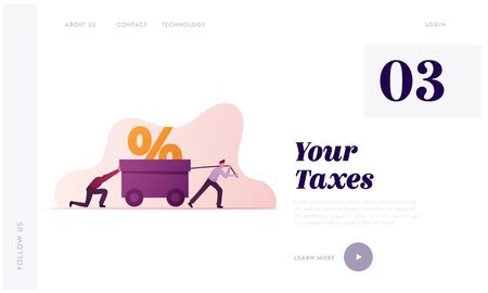 Tax Burden Payment Obligation Landing Page Template. Businesspeople Characters Drag Huge Trolley with Percent Sign. Businessmen Unbearable Bank Loan, Financial Debt. Cartoon People Vector Illustration Vettoriali