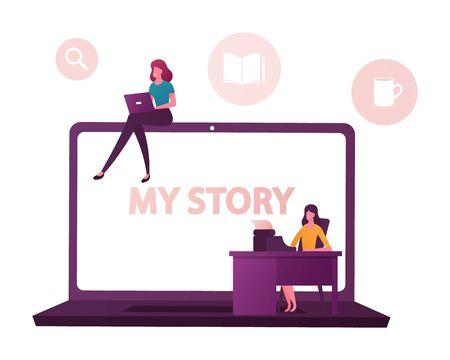 Tiny Female Characters at Huge Laptop Writing Stories and Biography. Girl Typing on Computer, Woman Printing on Retro Typewriter. Author or Famous Person Life Story. Cartoon People Vector Illustration