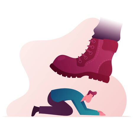 Huge Boot Trample Frightened Humiliated Man Standing on Knees. Large Leg Pressing on Man Fell on All Fours