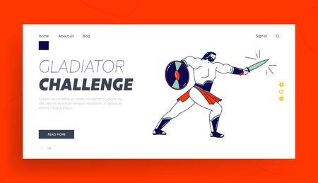 Gladiator Holding Shield and Sword Fighting on Coliseum Arena Landing Page Template. Spartan Male Character