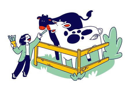 Cheerful Kid Feeding Cute Cows in Wooden Cage at Outdoor Farm Zoo. Child Character Spend Time in Animal Petting Park on Weekend. Leisure, Spare Time, Summer Time Vacation. Linear Vector Illustration