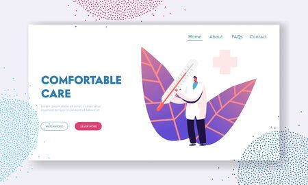 Chickenpox Fever Examination Disease Landing Page Template. Male Doctor Character in Medical Uniform Vecteurs
