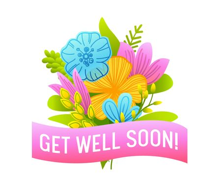 Get Well Soon Banner with Doodle Flowers, Pink Ribbon and Typography. Wish Health to Friend Concept Isolated on White Background. Hand Drawn Card, Badge of Simple Design. Cartoon Vector Illustration