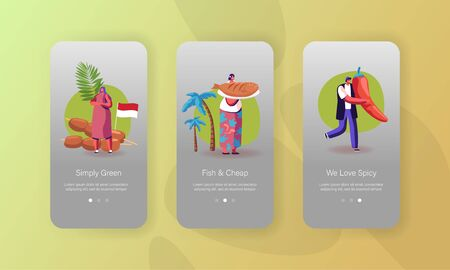 Indonesian Cuisine, Popular Malaysian Appetizers Mobile App Page Onboard Screen Template. Tiny People Characters Cooking Asian Food Chicken Satay and Fried Fish Concept. Cartoon Vector Illustration