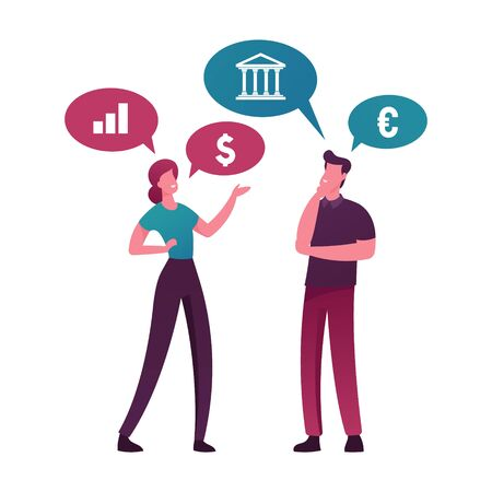 Money Talks. Male and Female Characters Talking about Currency and Banking. People Communicate Discussing Financial Deals. Business Consulting, Specialist Advice. Cartoon People Vector Illustration Ilustração