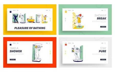 Happy Characters Take Shower in Bathroom and Sing Landing Page Template Set. Woman Sitting in Tub, Drying Hair, Man in Foam Singing Hobby and Relax. People Washing and Fun. Linear Vector Illustration Çizim