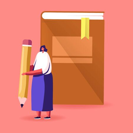 Young Woman Character Hold Pen front of Huge Book Prepare to Grammar Examination or Make Homework. Student Girl Read and Learn. Education in University or College Concept. Cartoon Vector Illustration