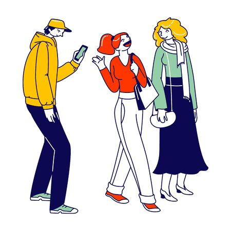 Men and Women Characters Dressed in Trendy Clothes Standing in Line or Queue Waiting for Store Boutique or Showroom Opening. Stylish People with Gadgets Communicate. Linear Vector Illustration Ilustrace