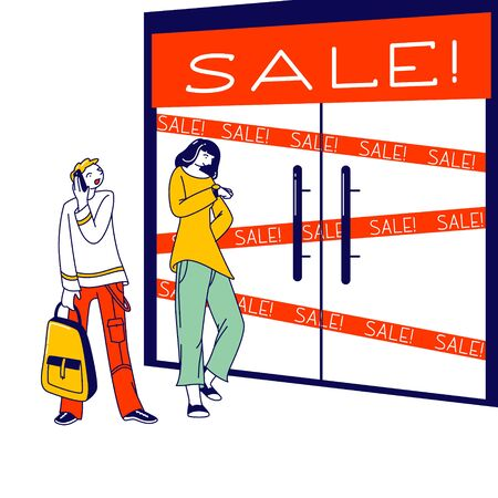 Men and Women Characters Dressed in Trendy Clothes Standing in Line or Queue in Front of Shop Entrance. Stylish People Waiting for Store Boutique or Showroom Opening. Linear People Vector Illustration