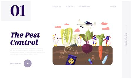 Pest Control Landing Page Template. Workers Characters in Chemical Protective Suit Insecticide and Pesticide with Sprayers on Huge Vegetables in Toxic Polluted Soil. Cartoon People Vector Illustration